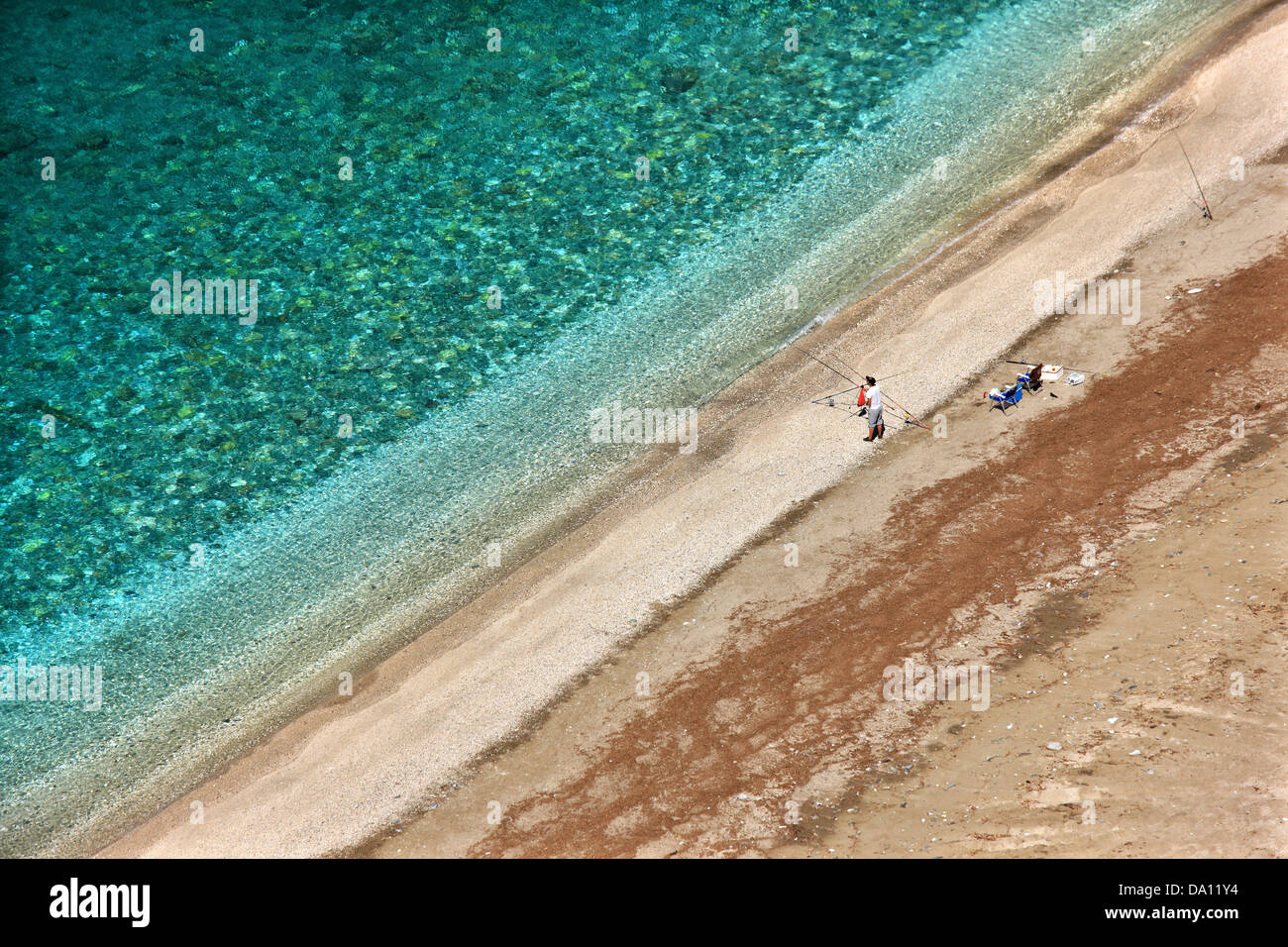 Kallianos beach (off season) at the 'exit' of Dimosari canyon, at the Aegean coast of southern Evia island, - Stock Image
