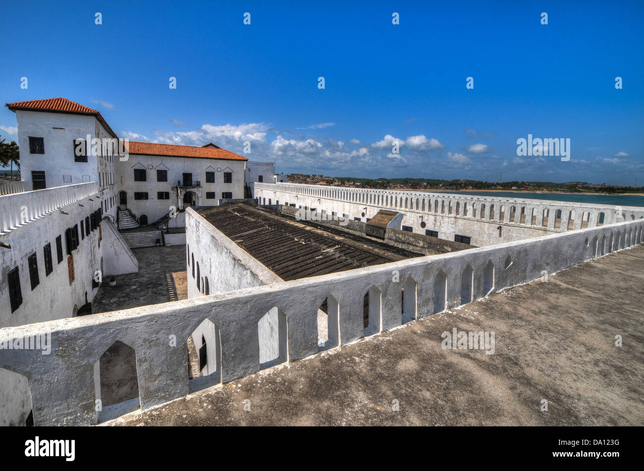 Elmina Castle (also called the Castle of St. George) is located on the Atlantic coast of Ghana west of the capital, - Stock Image