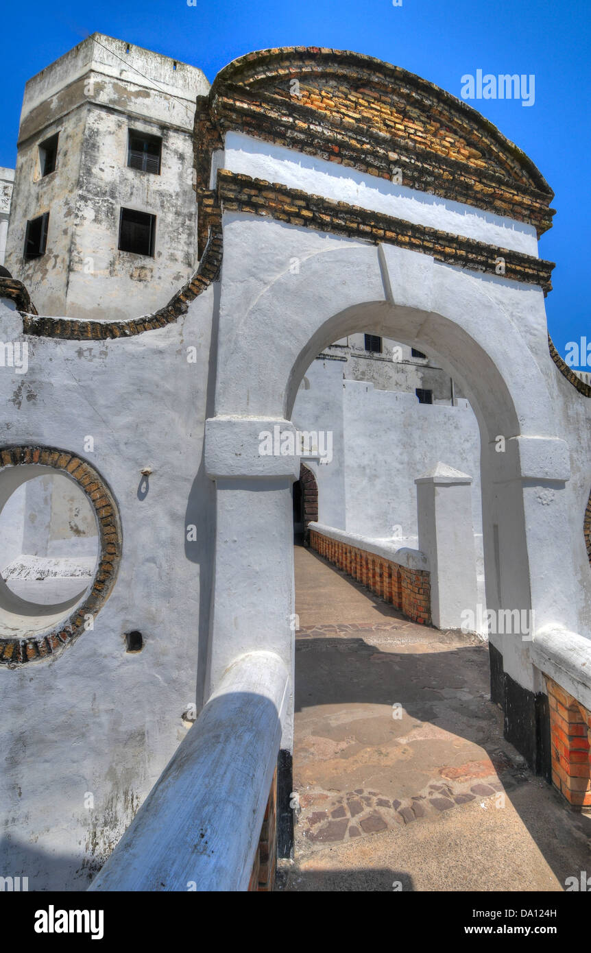 Entrance to Elmina Castle (also called the Castle of St. George) is located on the Atlantic coast of Ghana west - Stock Image