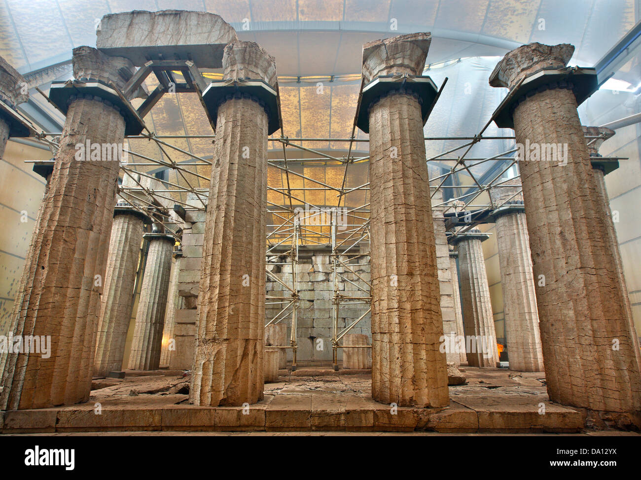 The temple of Apollo Epicurius covered by a protective tent (and fog) at Vasses, Peloponnese, Greece - Stock Image