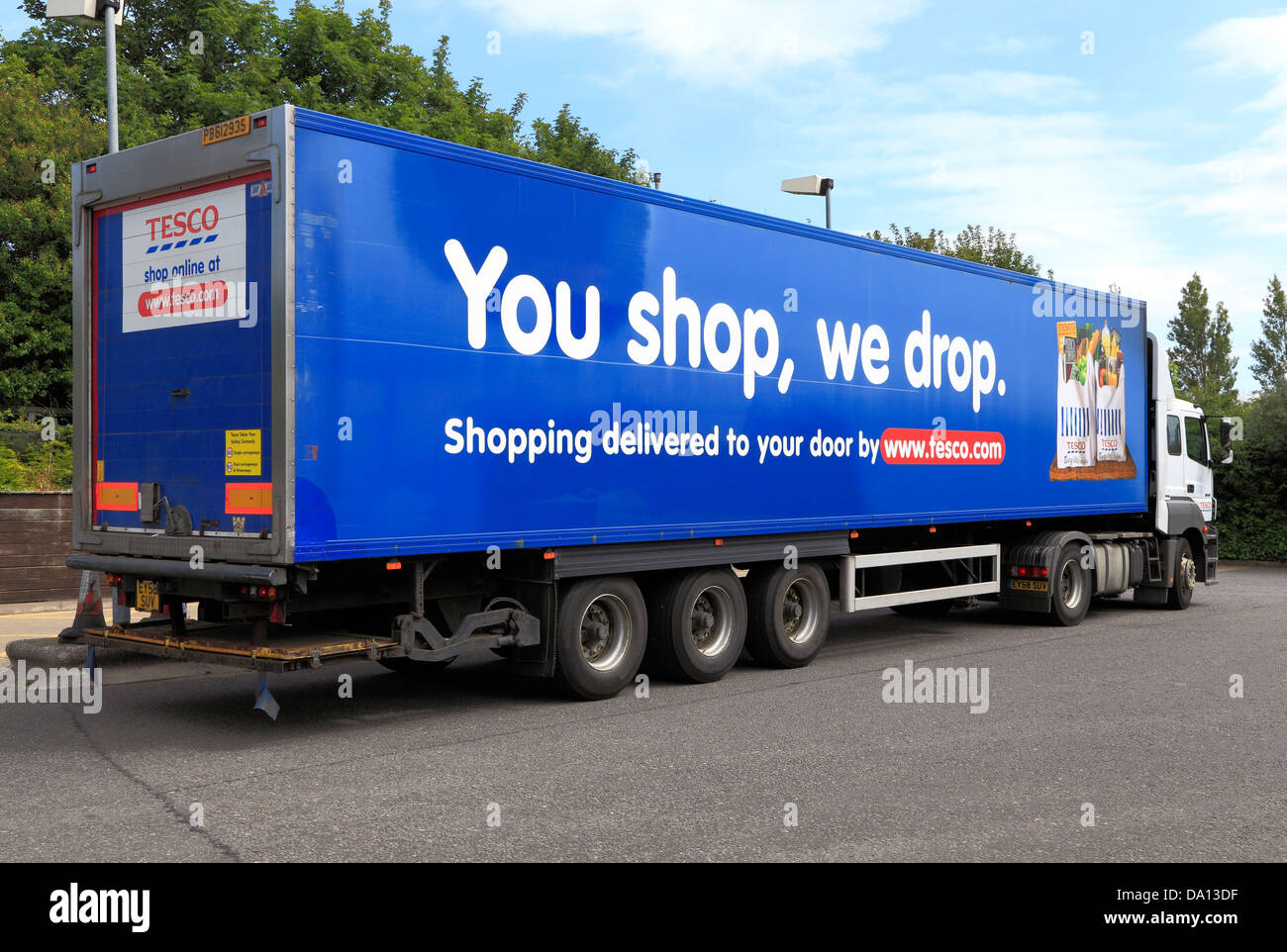 Tesco Online Shopping vehicle, transporter 'you shop, we drop', delivery truck, lorry, England UK - Stock Image