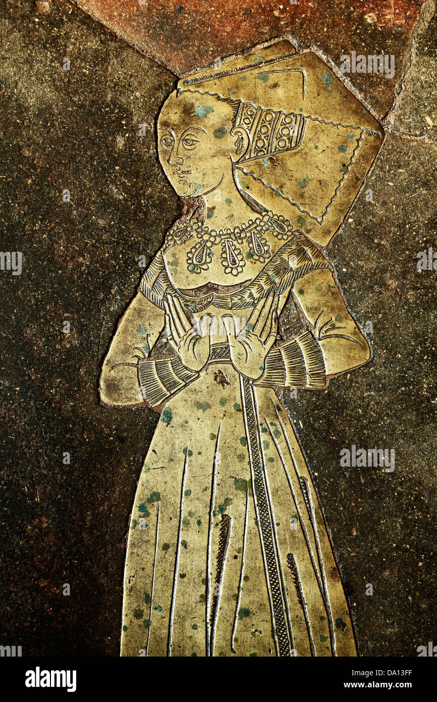 Blickling church, Norfolk, monumental brass to Isabel Boleyne, Boleyn, 1485, ancestor of Anne Boleyn, England UK - Stock Image
