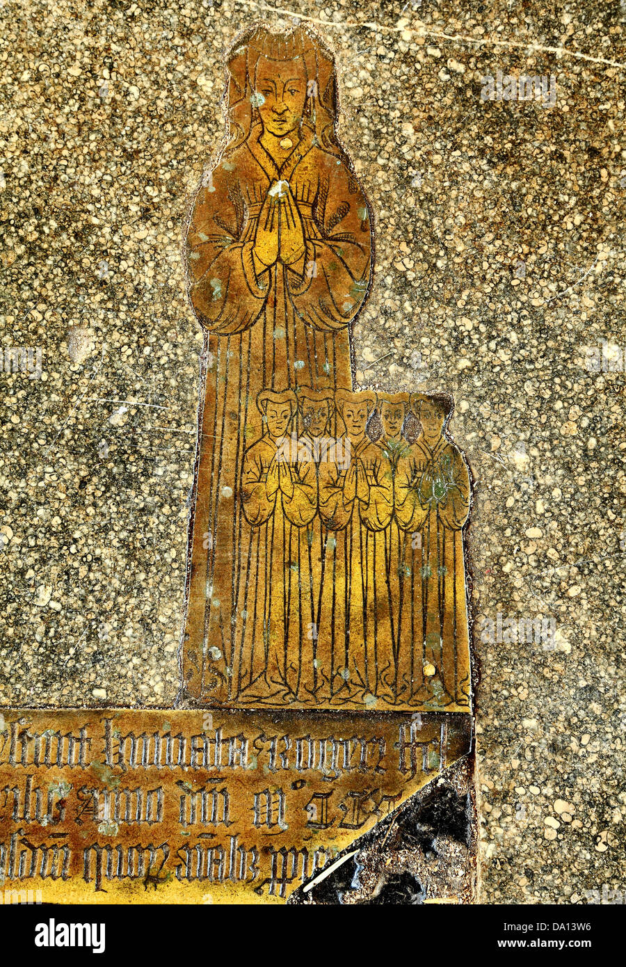 Blickling church, Norfolk, monumental brass to wife of Roger Felthorpe, 1454 and inscription, England UK English - Stock Image