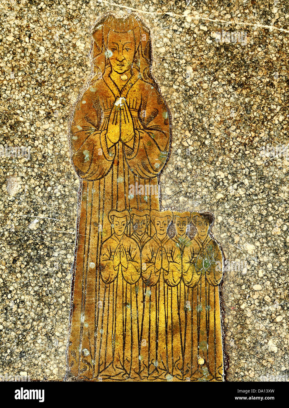 Blickling church, Norfolk, monumental brass to wife of Roger Felthorpe, 1454, and 5 daughters, 15th century carving, - Stock Image