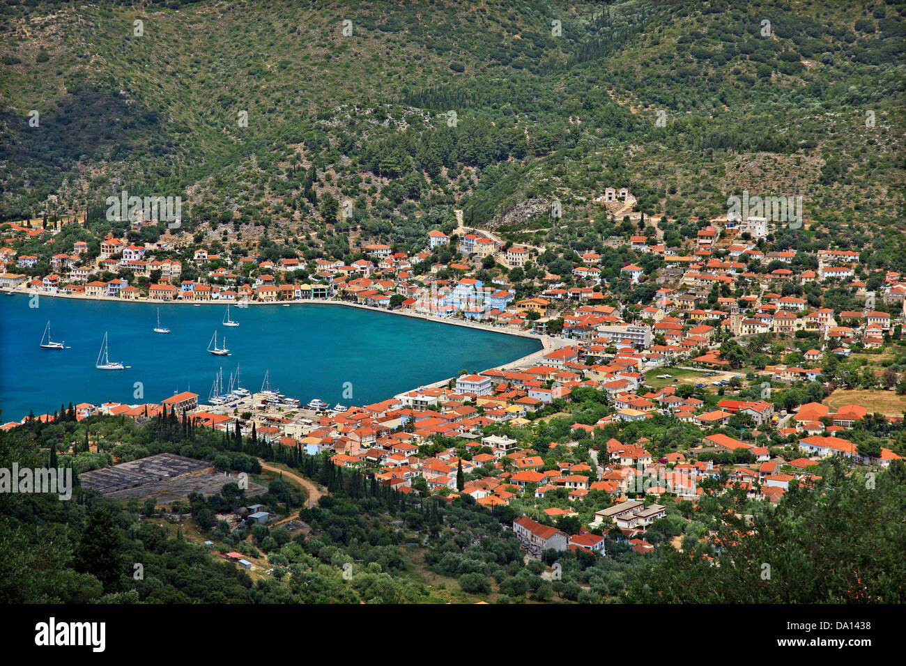 Panoramic view of Vathy (or 'Vathi'), the 'capital' of Ithaca ('Ithaki') island, Ionian - Stock Image