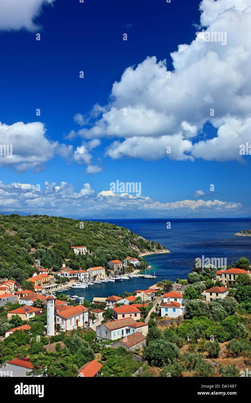 Kioni village, the most beautiful village of Ithaca (Ithaki) island, Ionian Sea, Eptanisa ('Seven Islands'), - Stock Image
