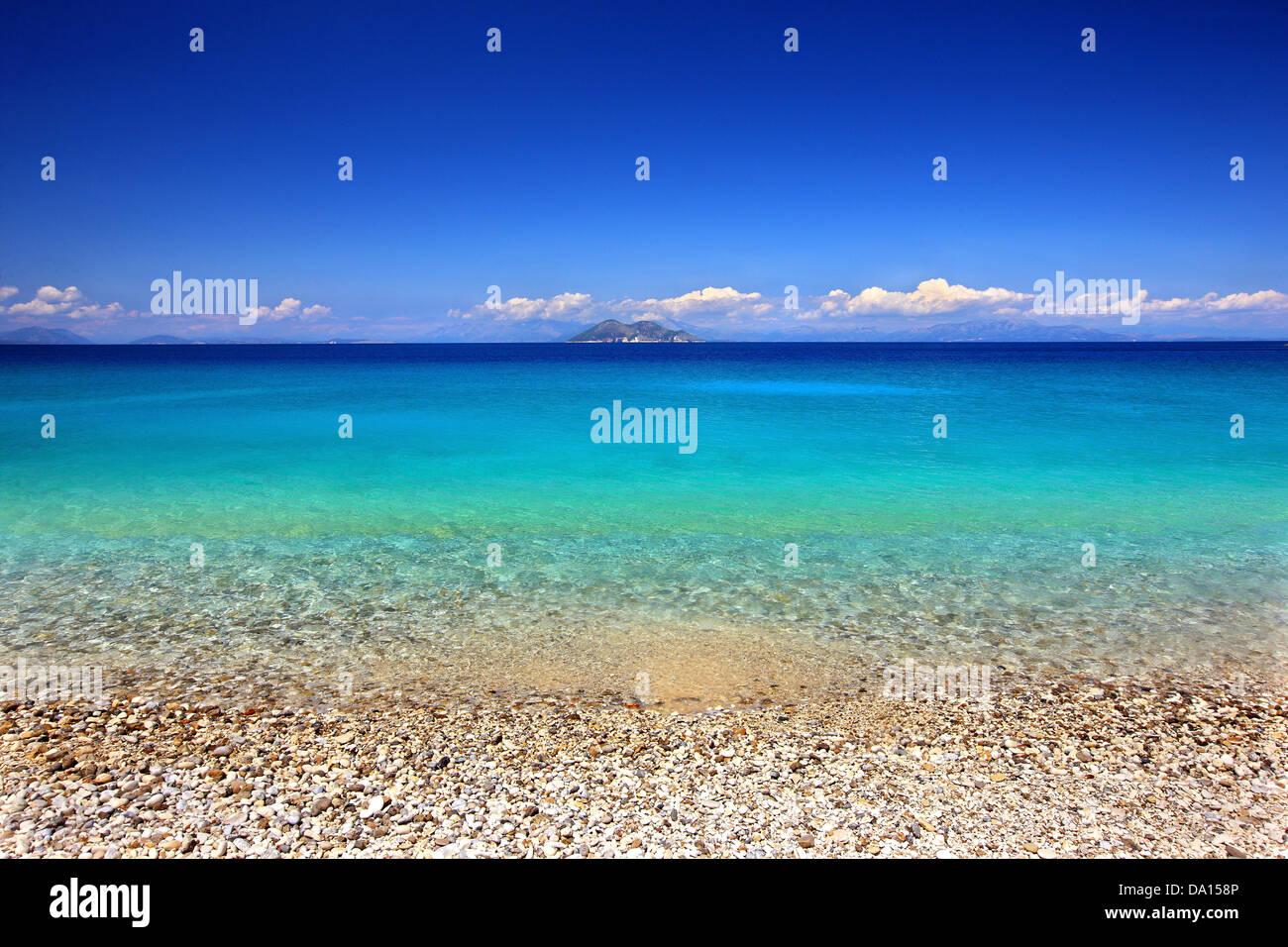 Gidaki beach, the most beautiful beach of Ithaca ('Ithaki') island, Ionian Sea, Eptanisa ('Seven Islands'), - Stock Image