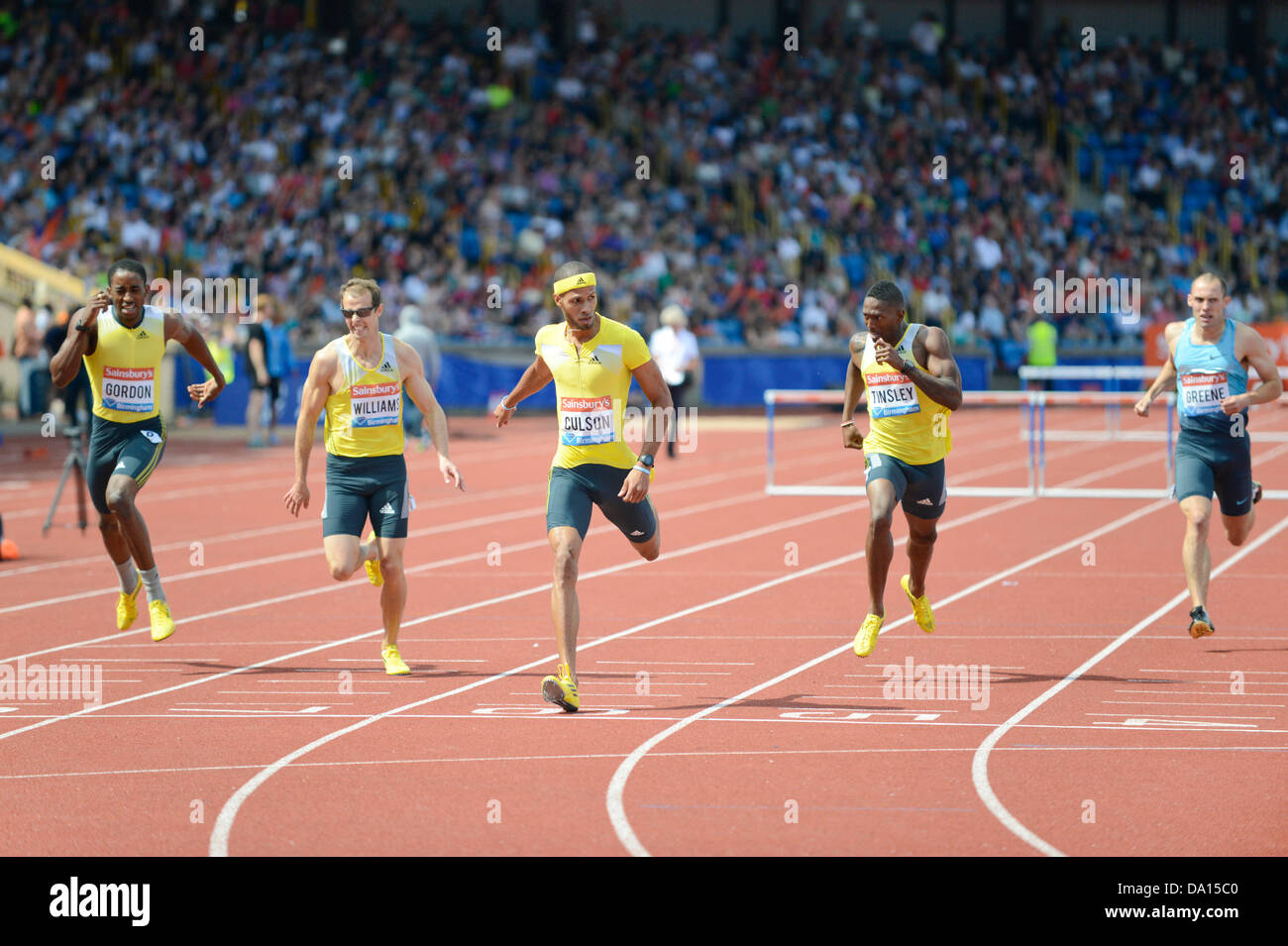 Birmingham, UK. 30th June 2013. Javier Culson of Puerto Rico finishes 1st in the men's 400m hurdles at the 2013 - Stock Image