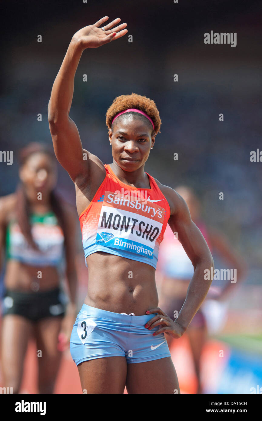 Birmingham, UK. 30th June 2013. Amantle Montsho of Botswana acknowledges the crowd before competing in the women's - Stock Image