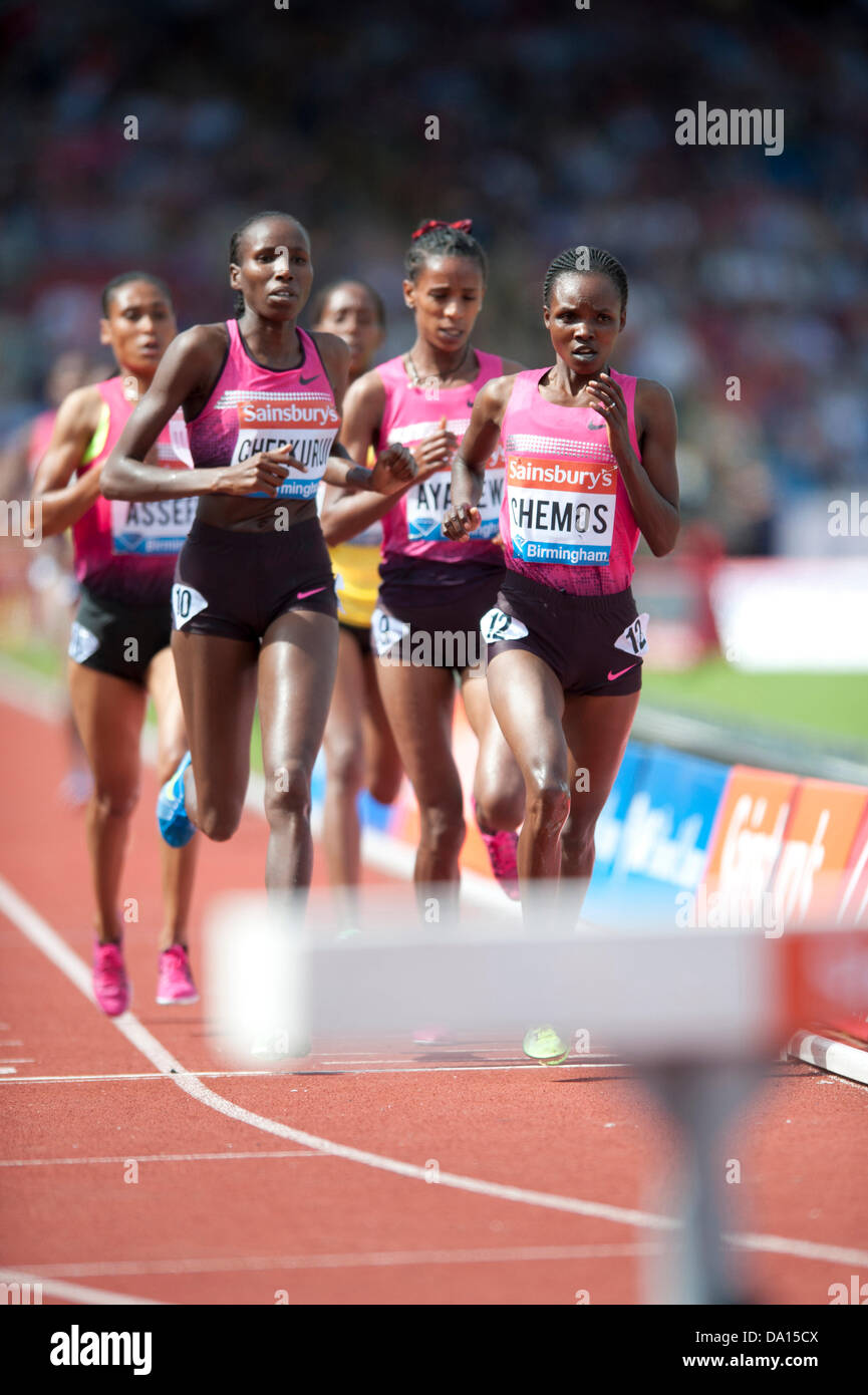 Birmingham, UK. 30th June 2013. Milcah Chemos of Kenya finishes 1st in the women's 3000m steeplechase at the - Stock Image