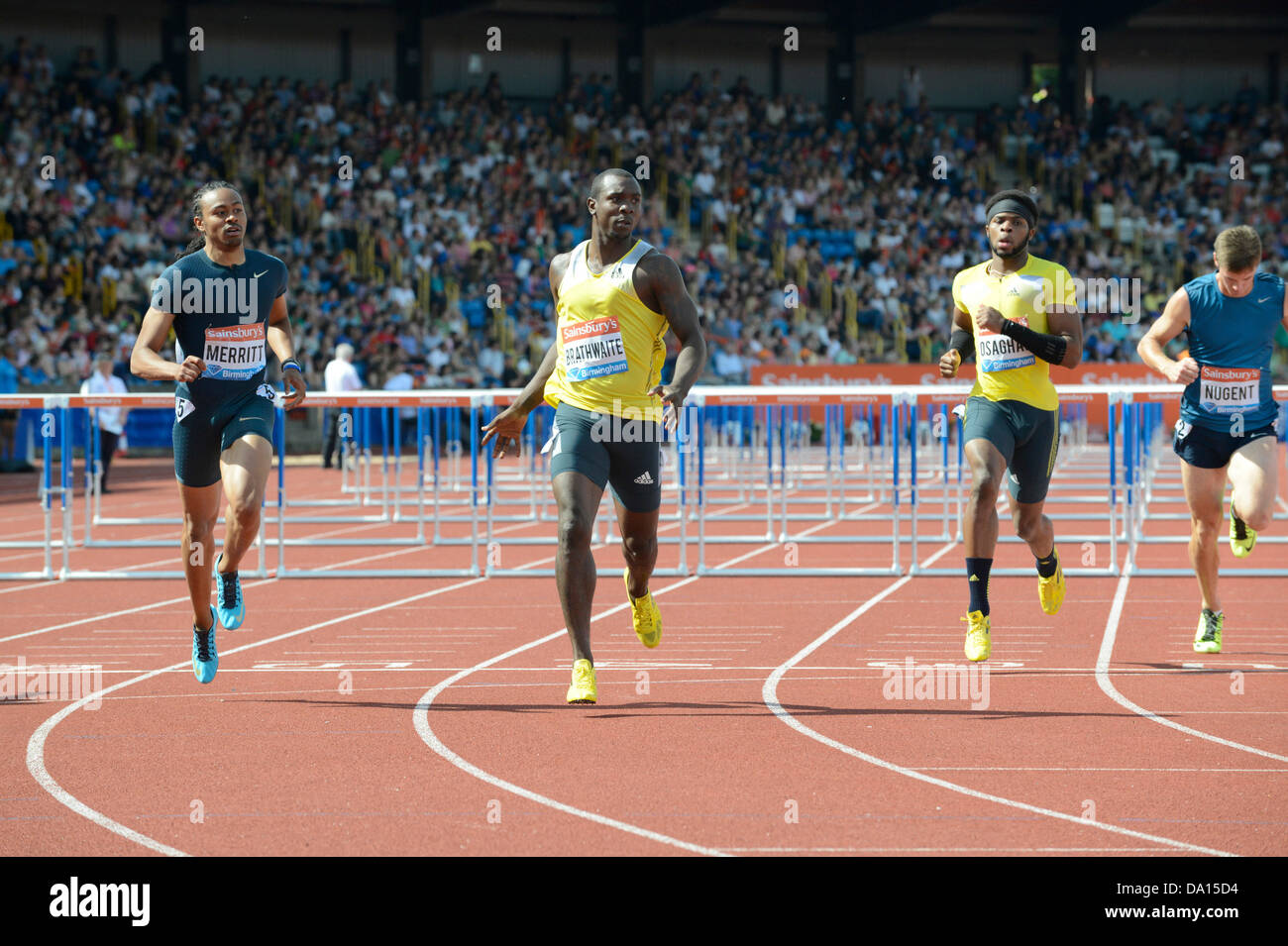 Birmingham, UK. 30th June 2013. Ryan Brathwaite (second from left) of Barbados races to 1st place in the men's - Stock Image