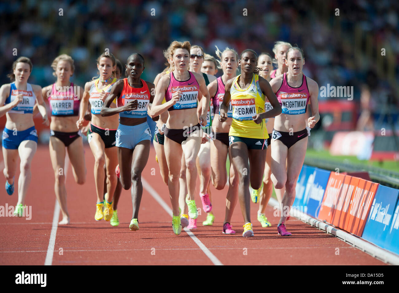 Birmingham, UK. 30th June 2013. Abeba Aregawi of Sweden finishes 1st in the women's 1500m event at the 2013 - Stock Image