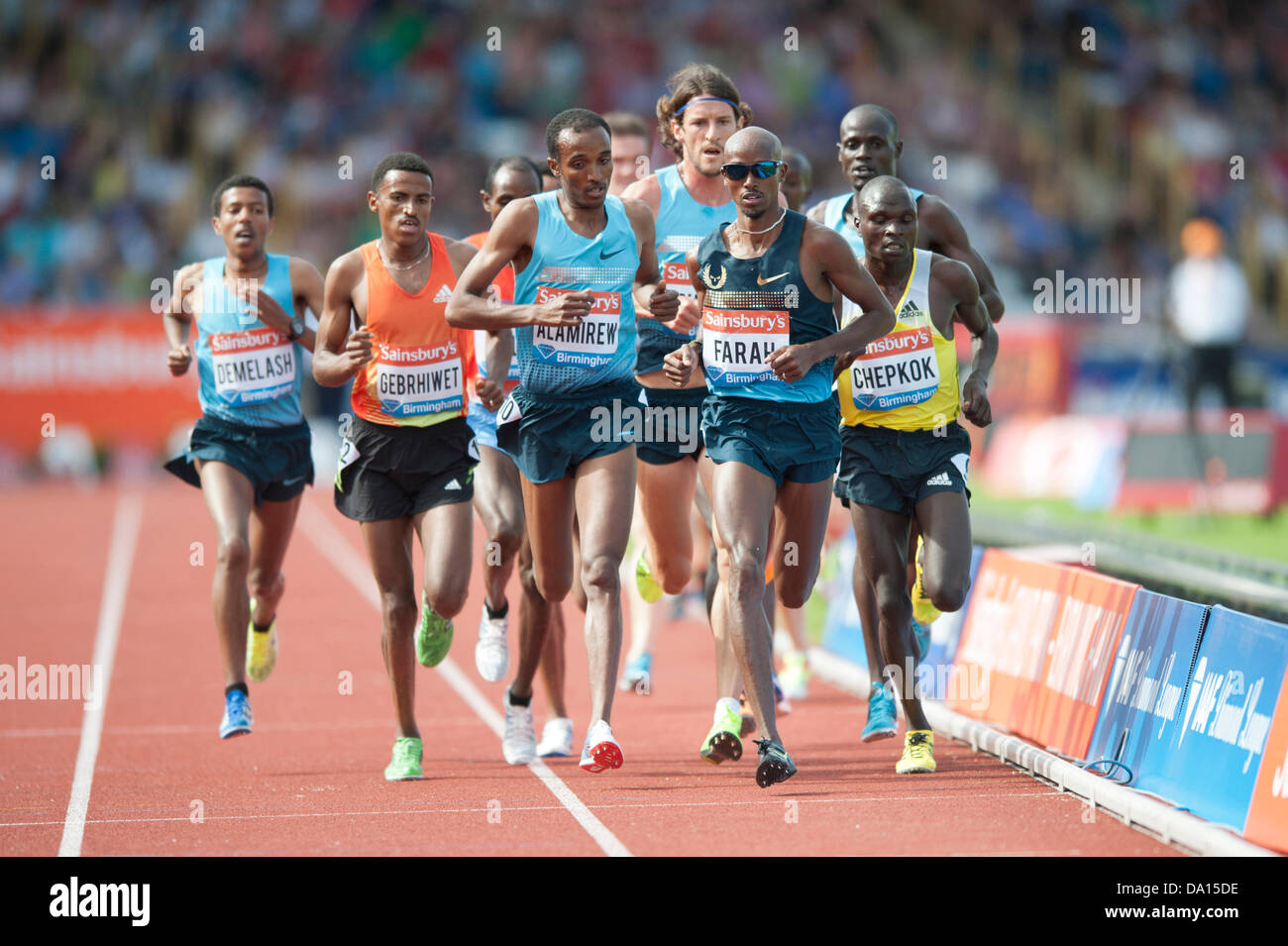 Birmingham, UK. 30th June 2013. Mo Farah of Great Britain finishes 1st in the men's 5000m event at the 2013 - Stock Image