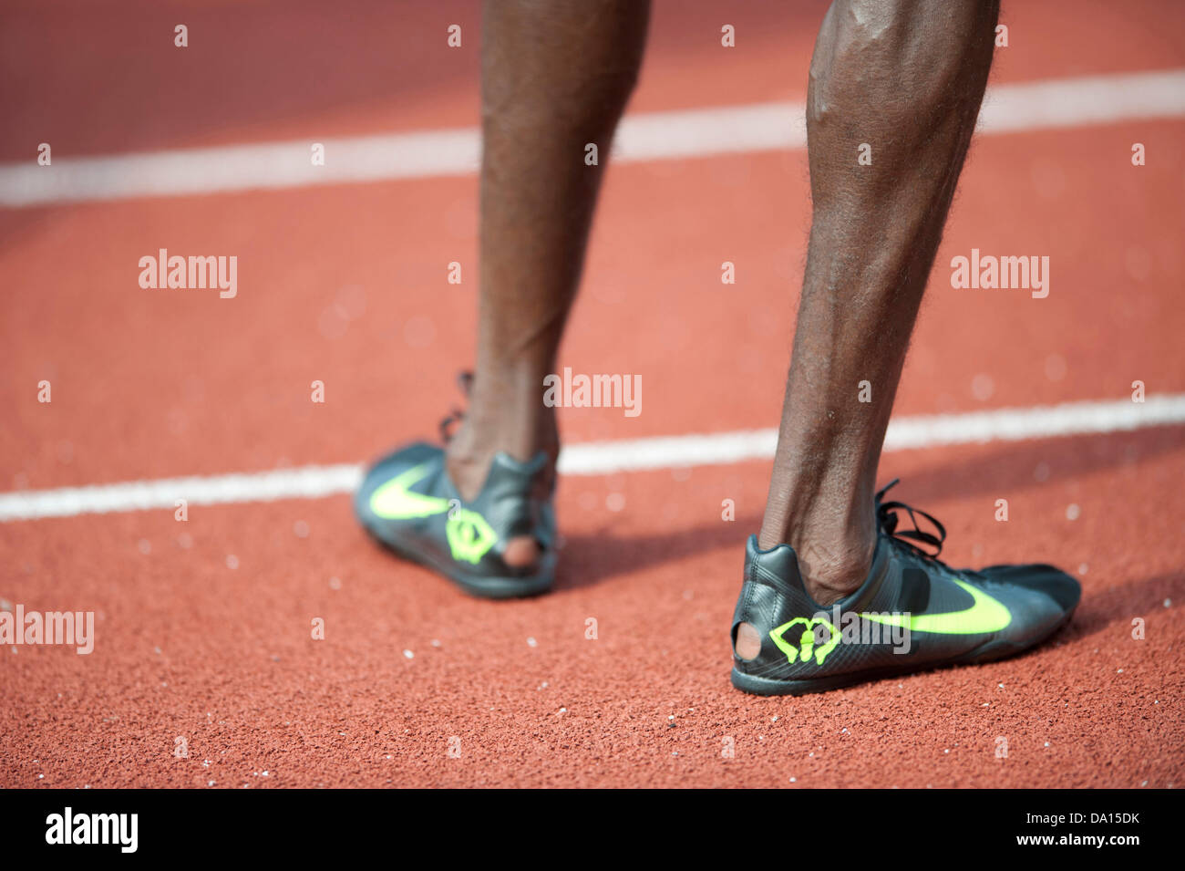 Birmingham, UK. 30th June 2013. Mo Farah of Great Britain is interviewed after winning the men's 5000m event - Stock Image