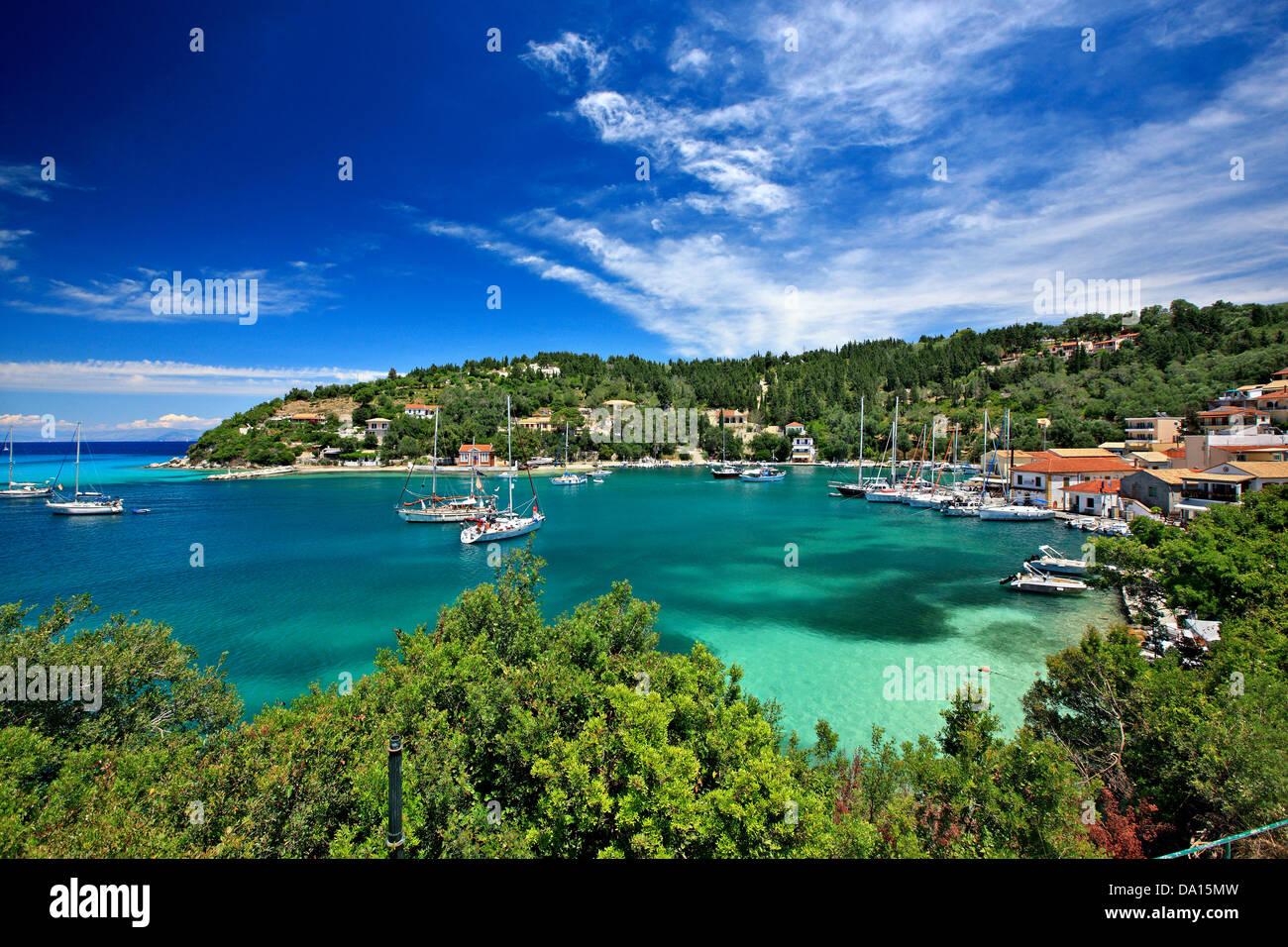 Panoramic view  of Lakka bay and village, Paxos island, Ionian Sea, Eptanisa ('Seven Islands'), Greece. - Stock Image