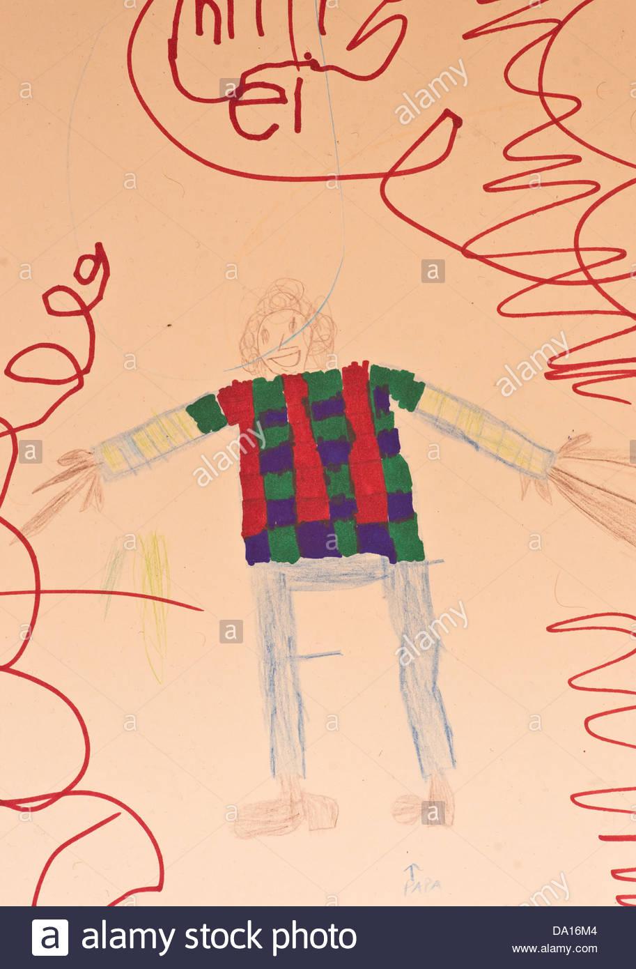 boy child children kids kid drawing art artist artwork Papa father portrait - Stock Image