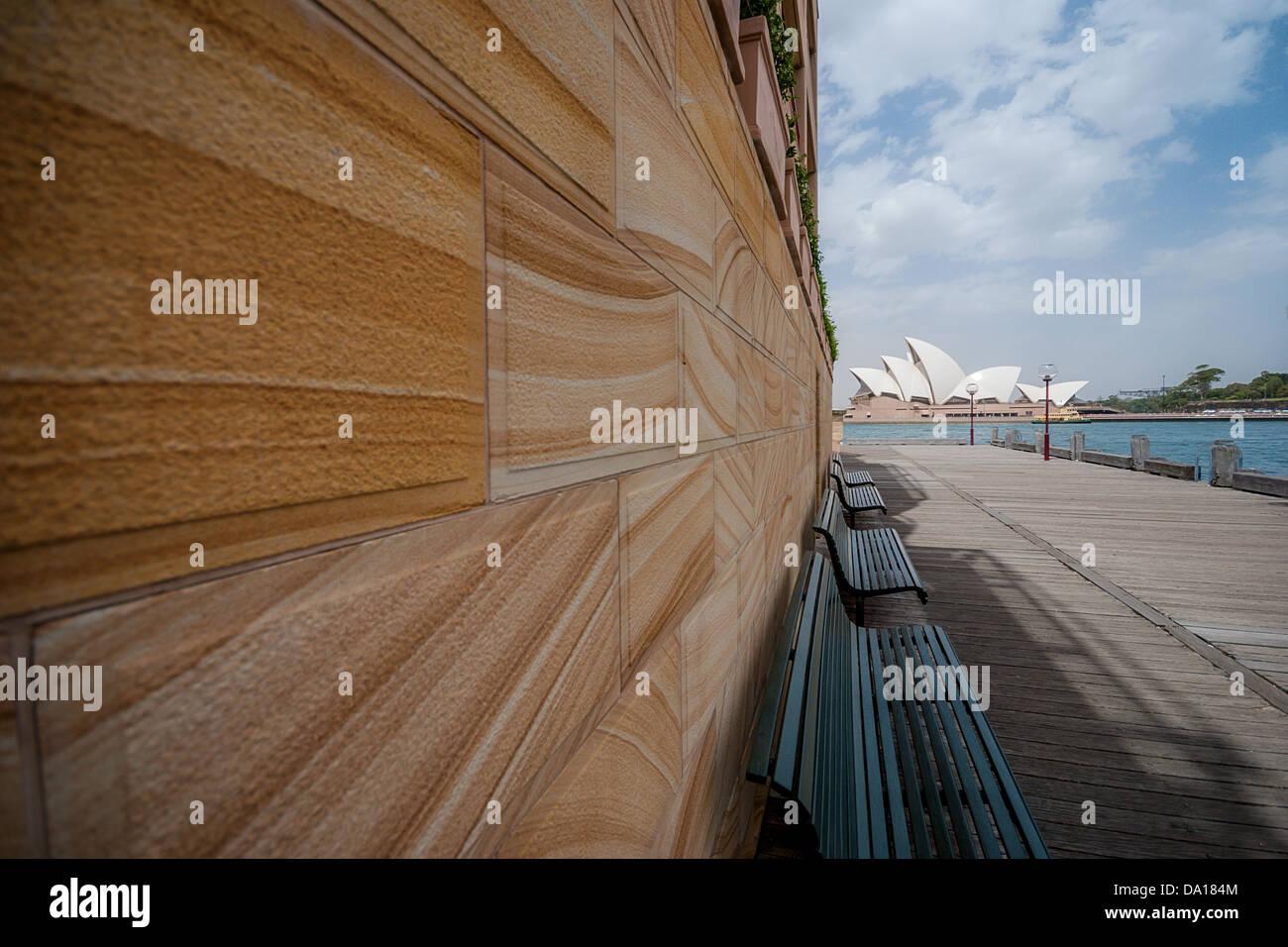 Sydney Opera House from the Park Hyatt across Sydney Cove at Dawes Point. - Stock Image