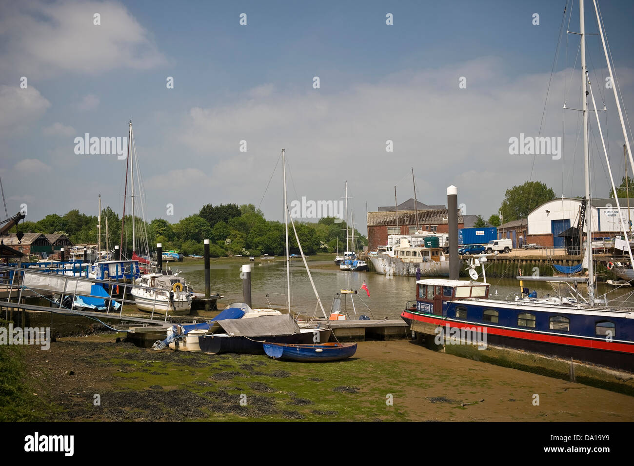 Boats tied up on the River Medina, Newport, Isle of Wight, UK - Stock Image