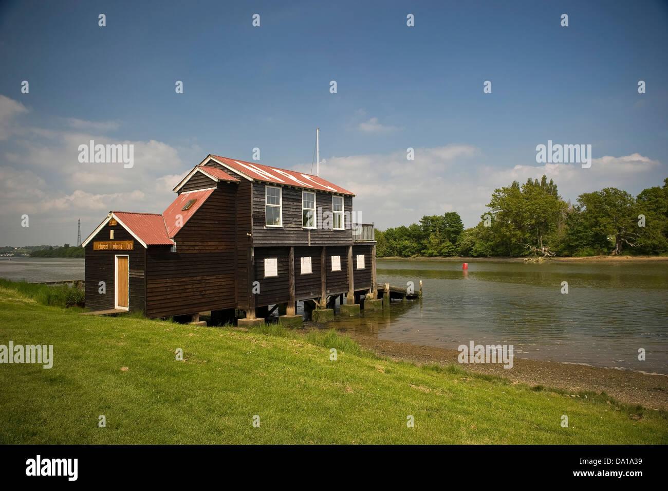 Newport Rowing Club clubhouse on the River Medina on the Isle of Wight, UK - Stock Image