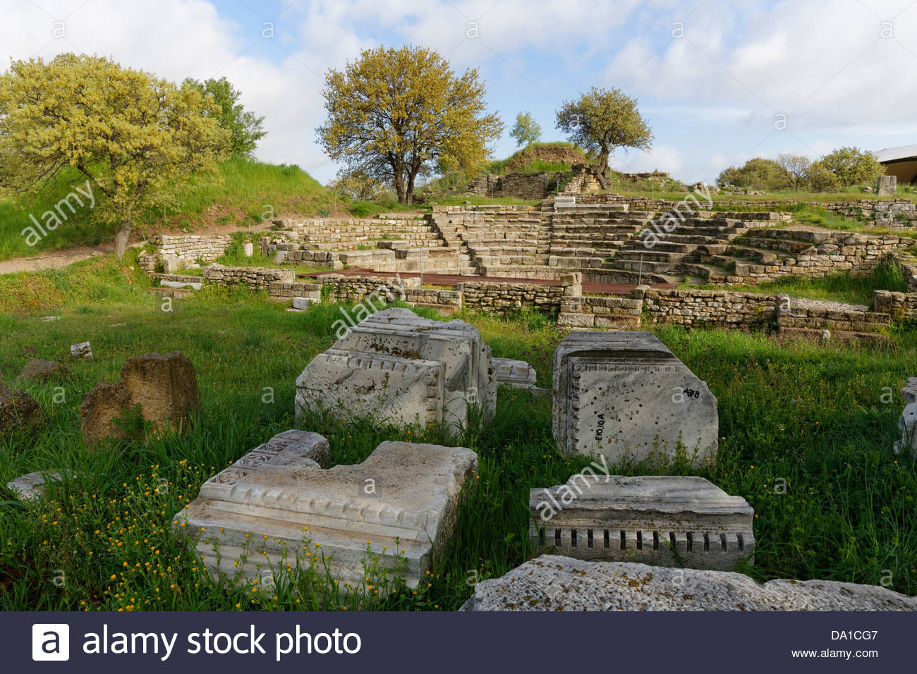 Turkey, Troy, View of Odeon theatre - Stock Image