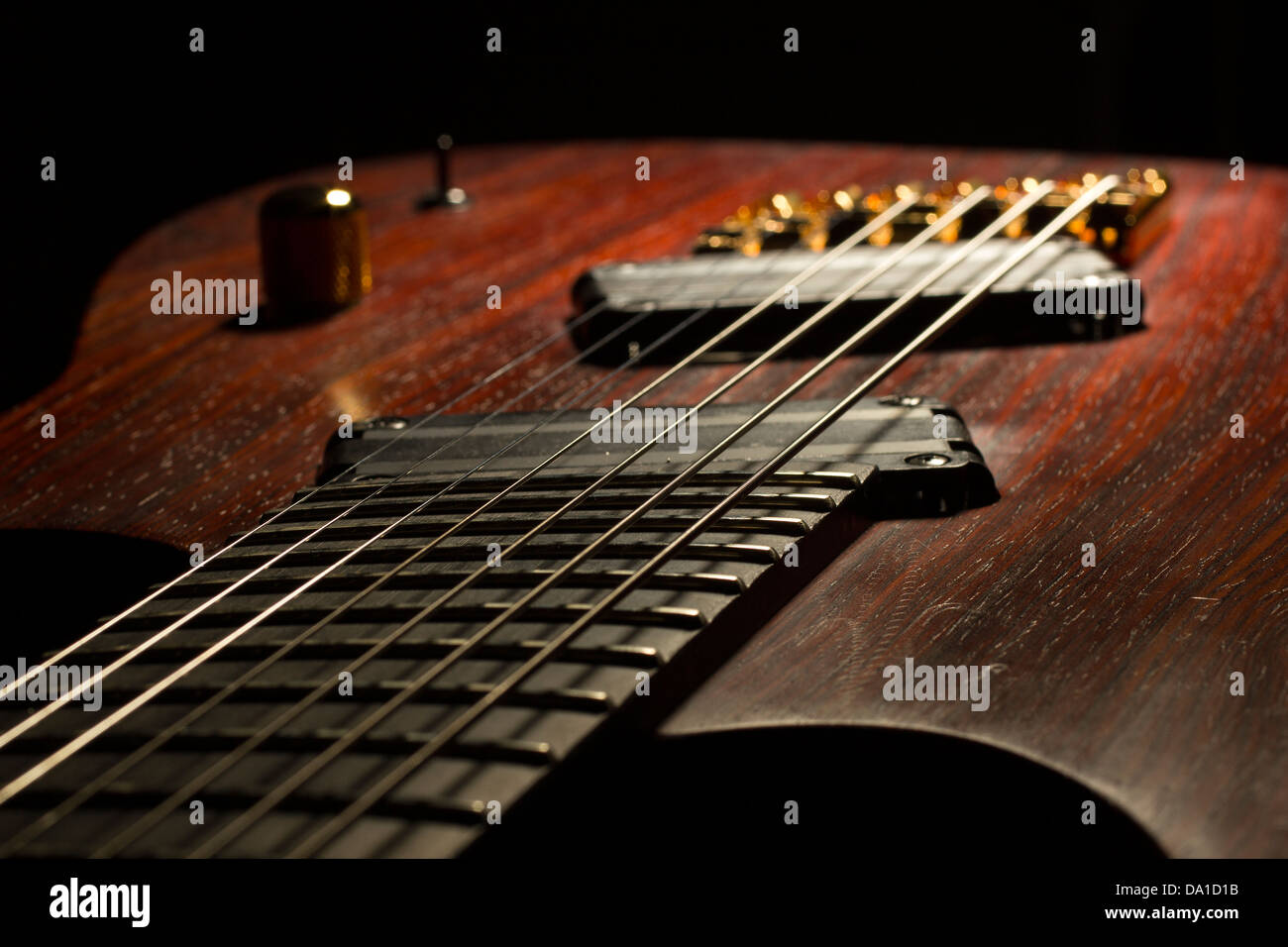 neck of custom guitar,guitars, musicians, musical, musics, playing, studio, jazz, blues, singing, recording, black, - Stock Image