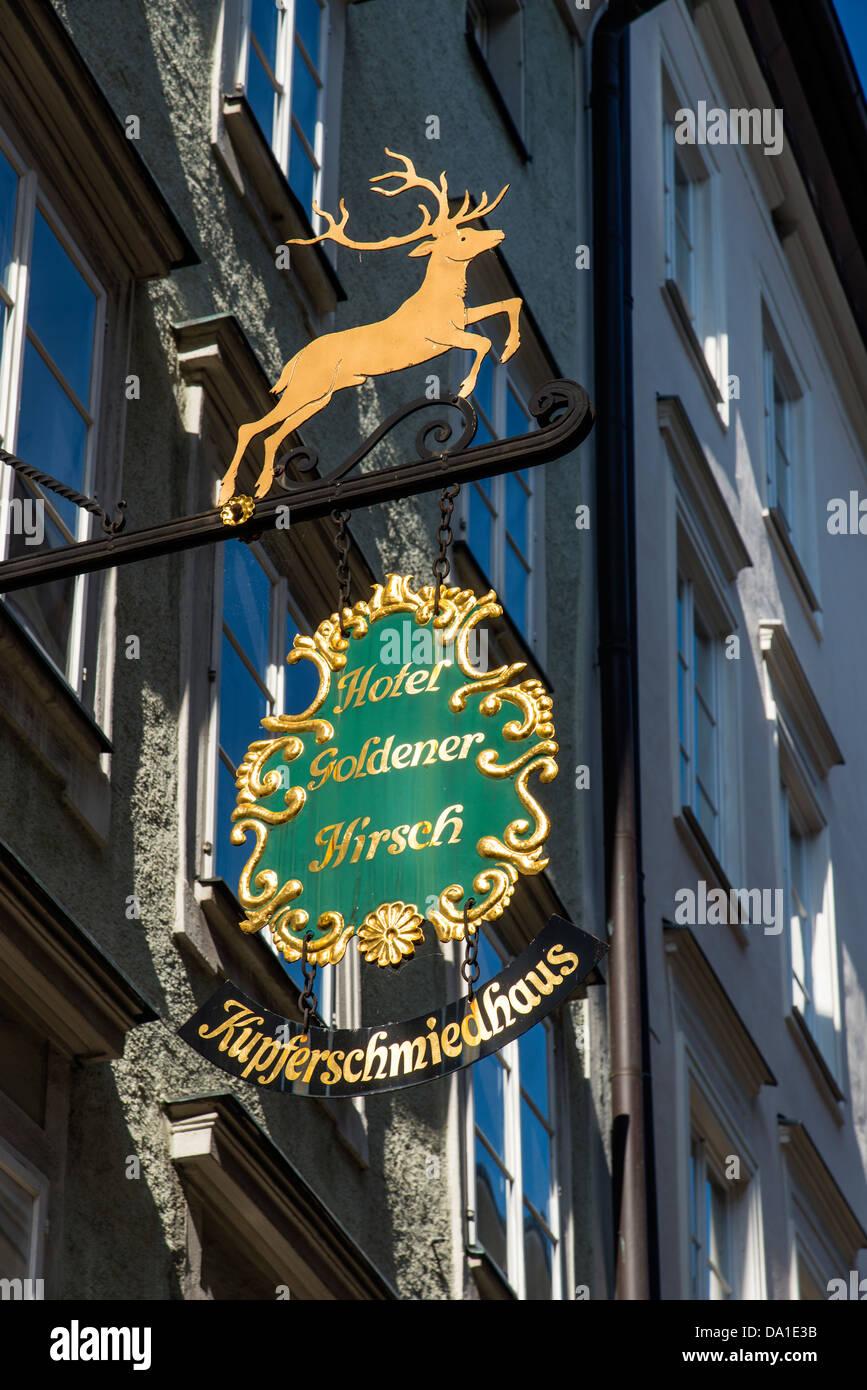 Typical wrought iron guild, Getreidegasse, Salzburg, Austria - Stock Image