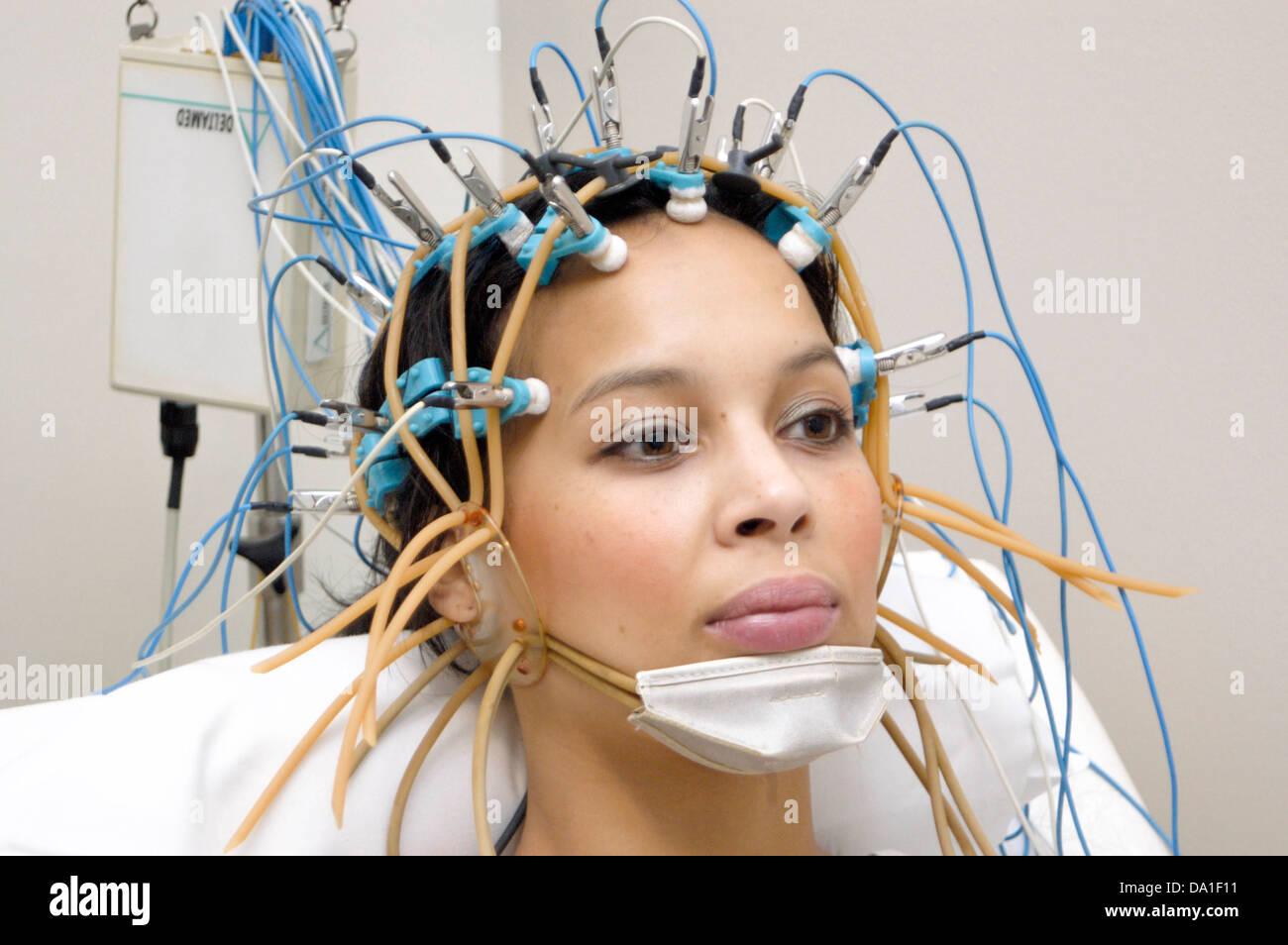 eeg examination of a woman stock photo 57811405 alamy