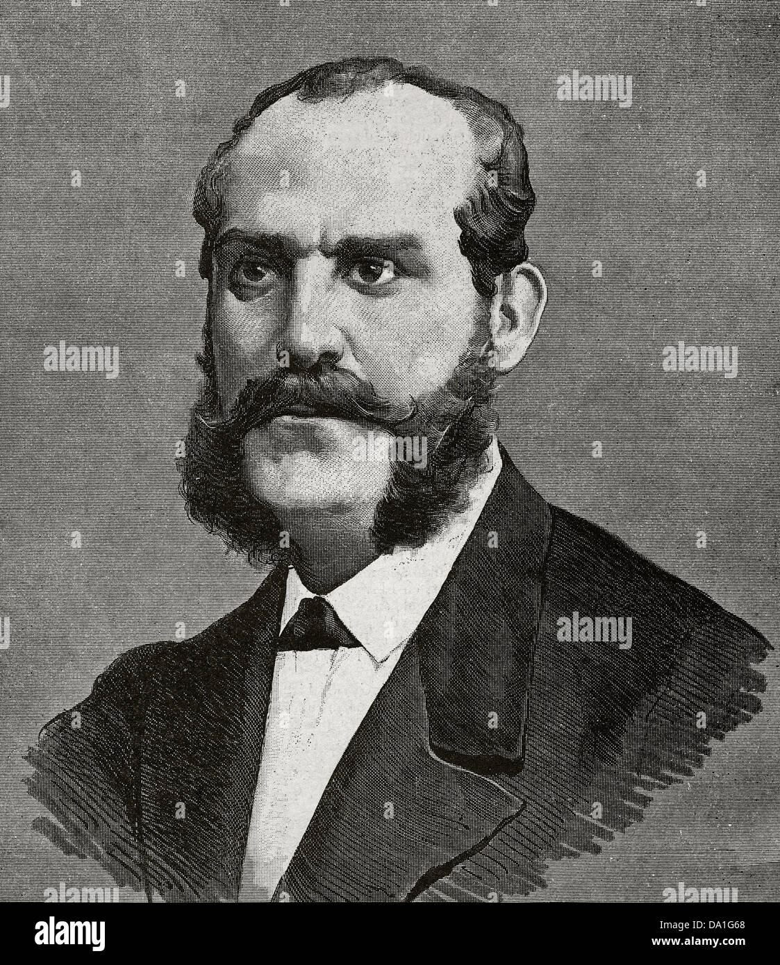 Juan Bautista Topete y Carballo (1821-1885). Spanish naval commander and politician. Engraving. - Stock Image