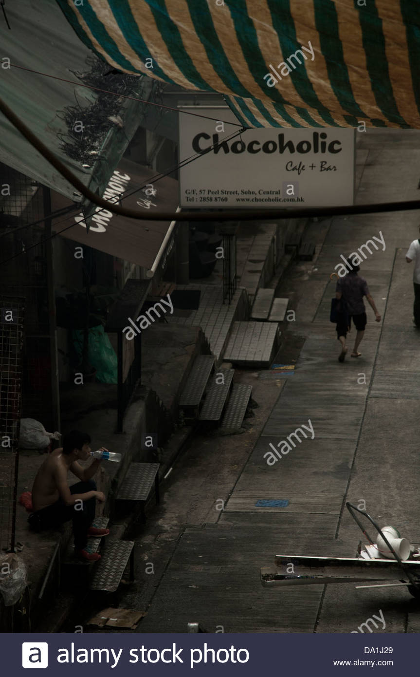 Hong Kong's street in the market area Stock Photo