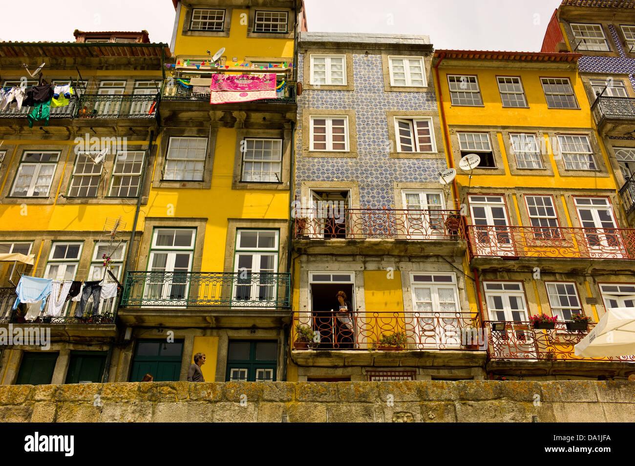 Porto  Oporto Waterfront, Portugal on the River Douro - Stock Image