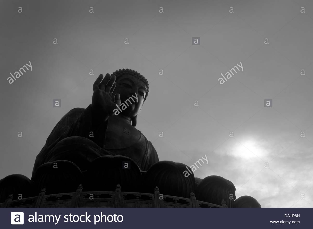 THE BIG BUDDHA ON TOP OF THE PO LING MONASTERY LANTAU ISLAND HONG KONG - Stock Image