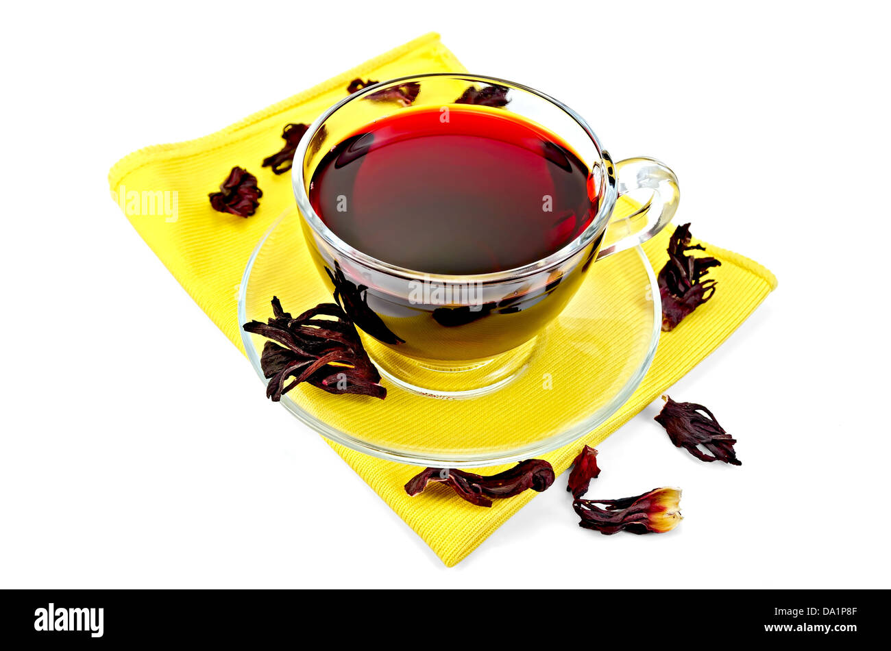 Hibiscus Tea In A Glass Cup Dry Petals Tea On Yellow Napkin