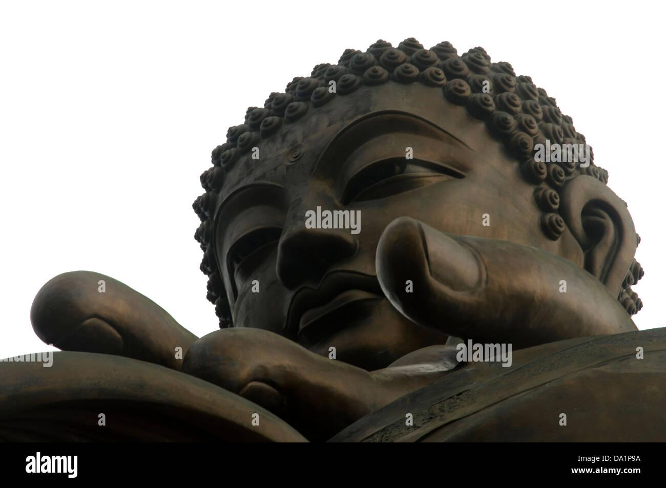 THE BIG BUDDHA ON TOP OF THE PO LING MONASTERY LANTAU ISLAND HONG KONG Stock Photo