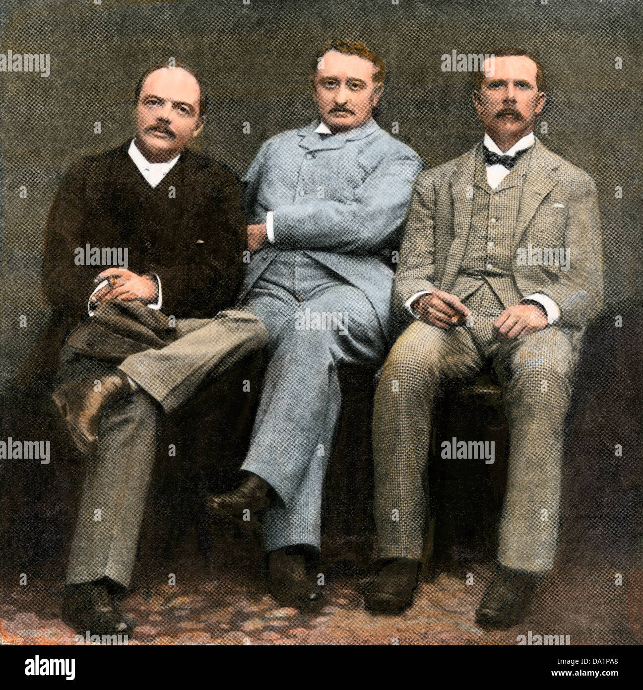 Leander Starr Jameson, Cecil Rhodes, and J.T. Newton (left-right), administrators of British South Africa Company,1896. - Stock Image