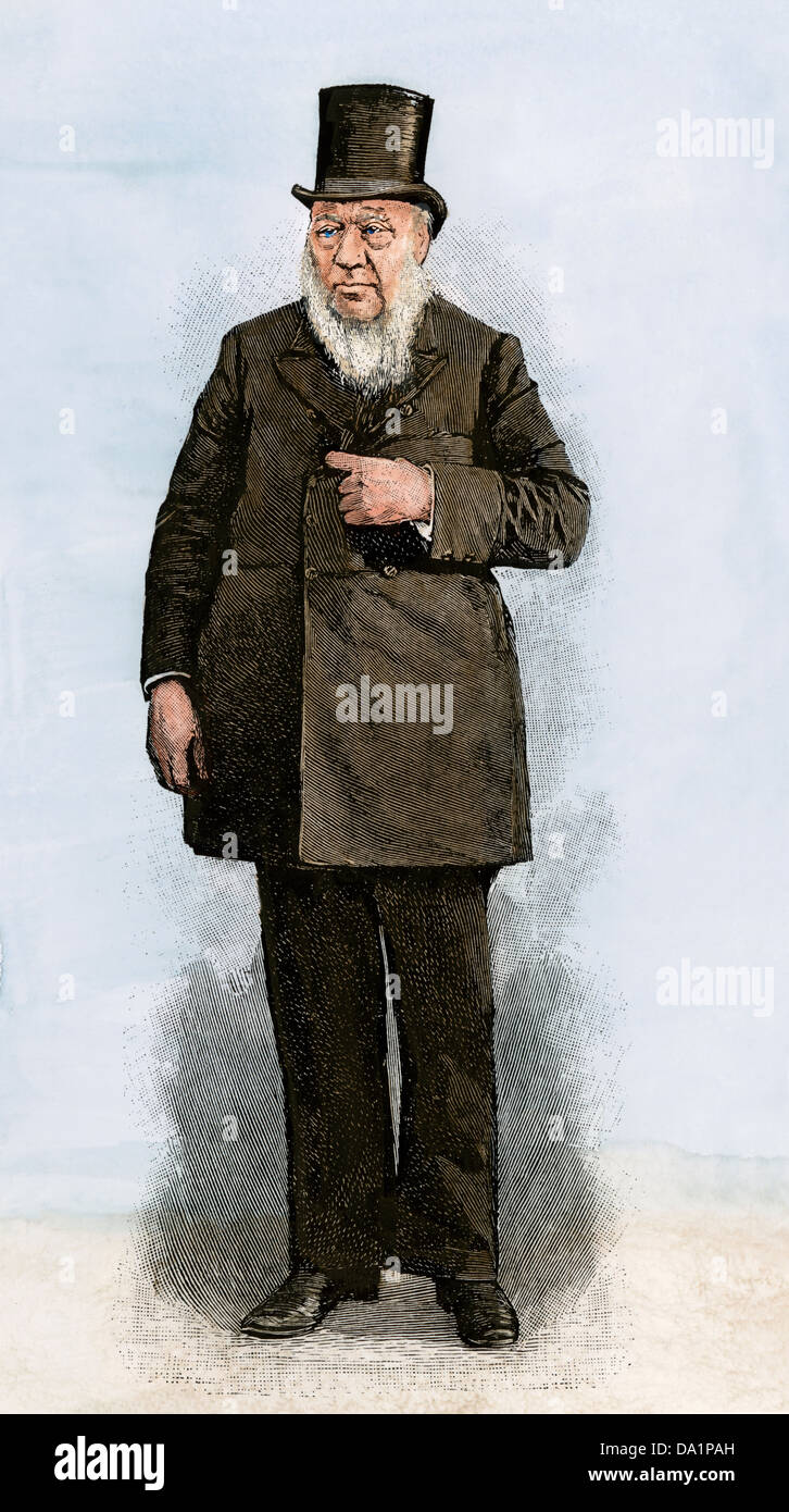 Paul Kruger, President of the South African Republic, 1890s. Hand-colored woodcut - Stock Image