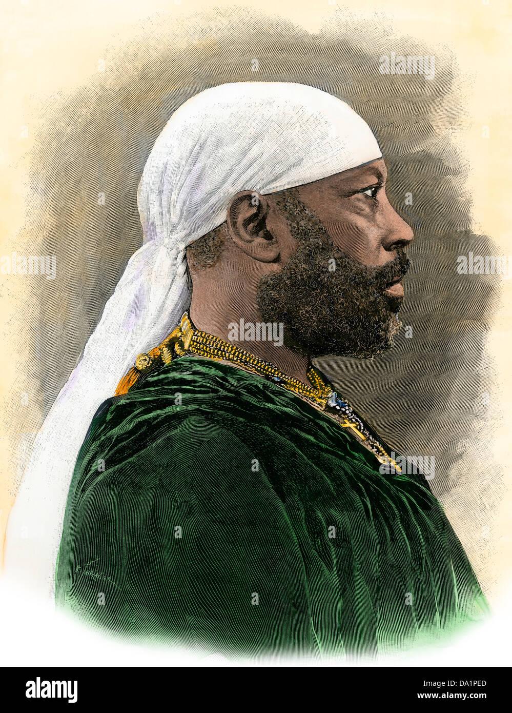 Menelik II, emperor of Ethiopia, 1890s. Hand-colored woodcut - Stock Image