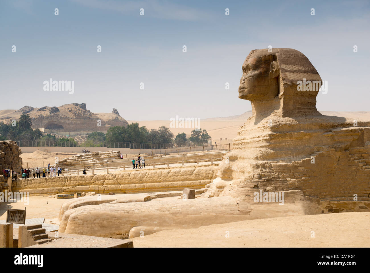 Famous ancient statue of Sphinx in Giza, Egypt. Every day crowds of tourists visit the Sphinx in Giza - Stock Image