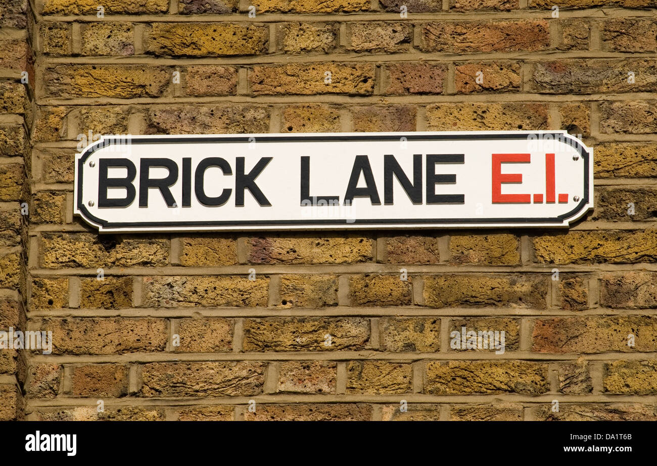 Brick Lane street road sign London E1. Tower Hamlets. HOMER SYKES Stock Photo