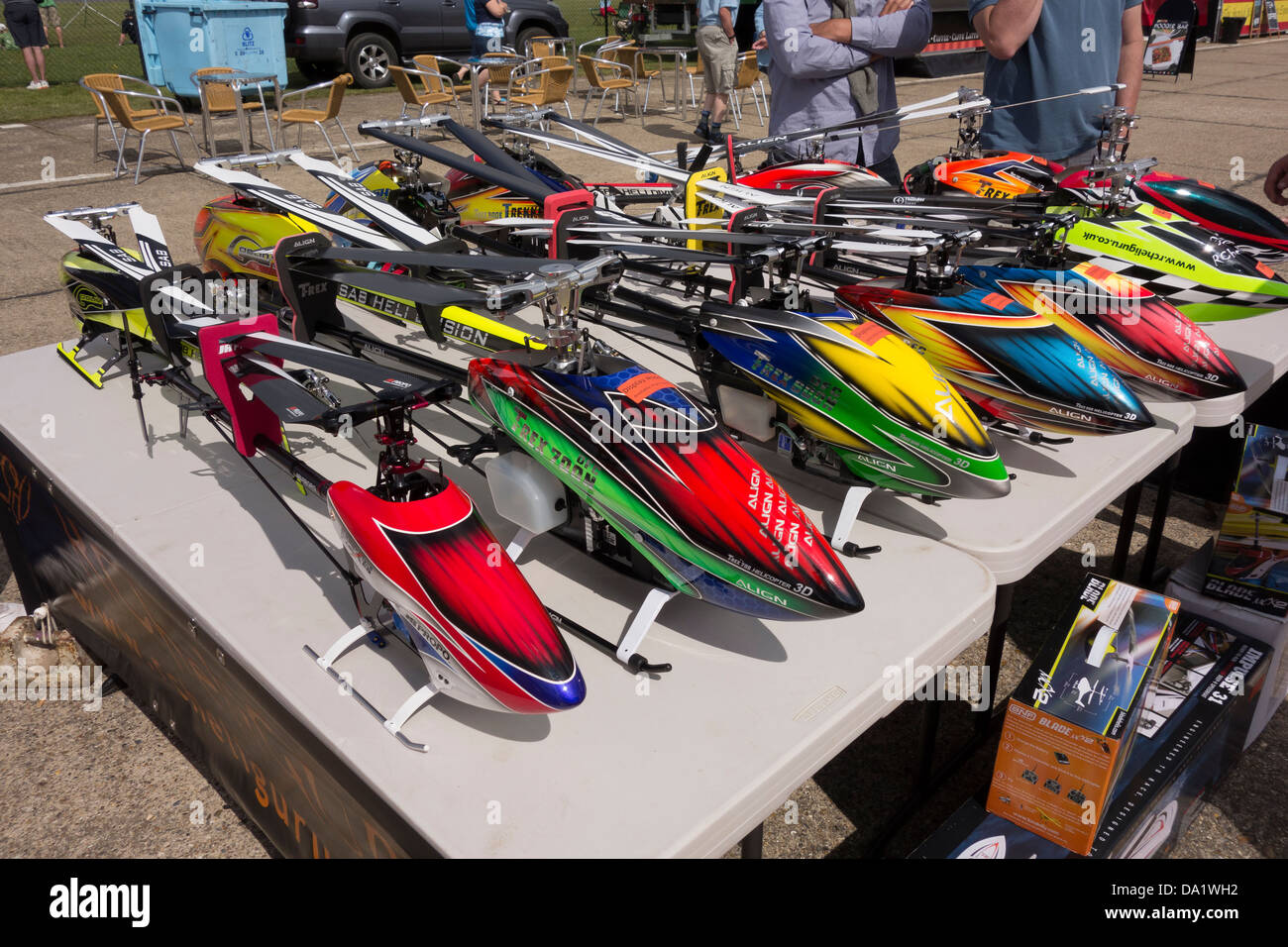 Model helicopters on display at Wings and wheels North Weald Essex - Stock Image