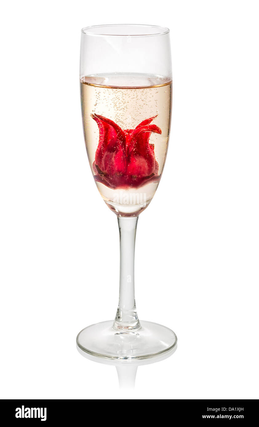 Champagne Cocktail With Hibiscus Flower Stock Photo 57820521 Alamy