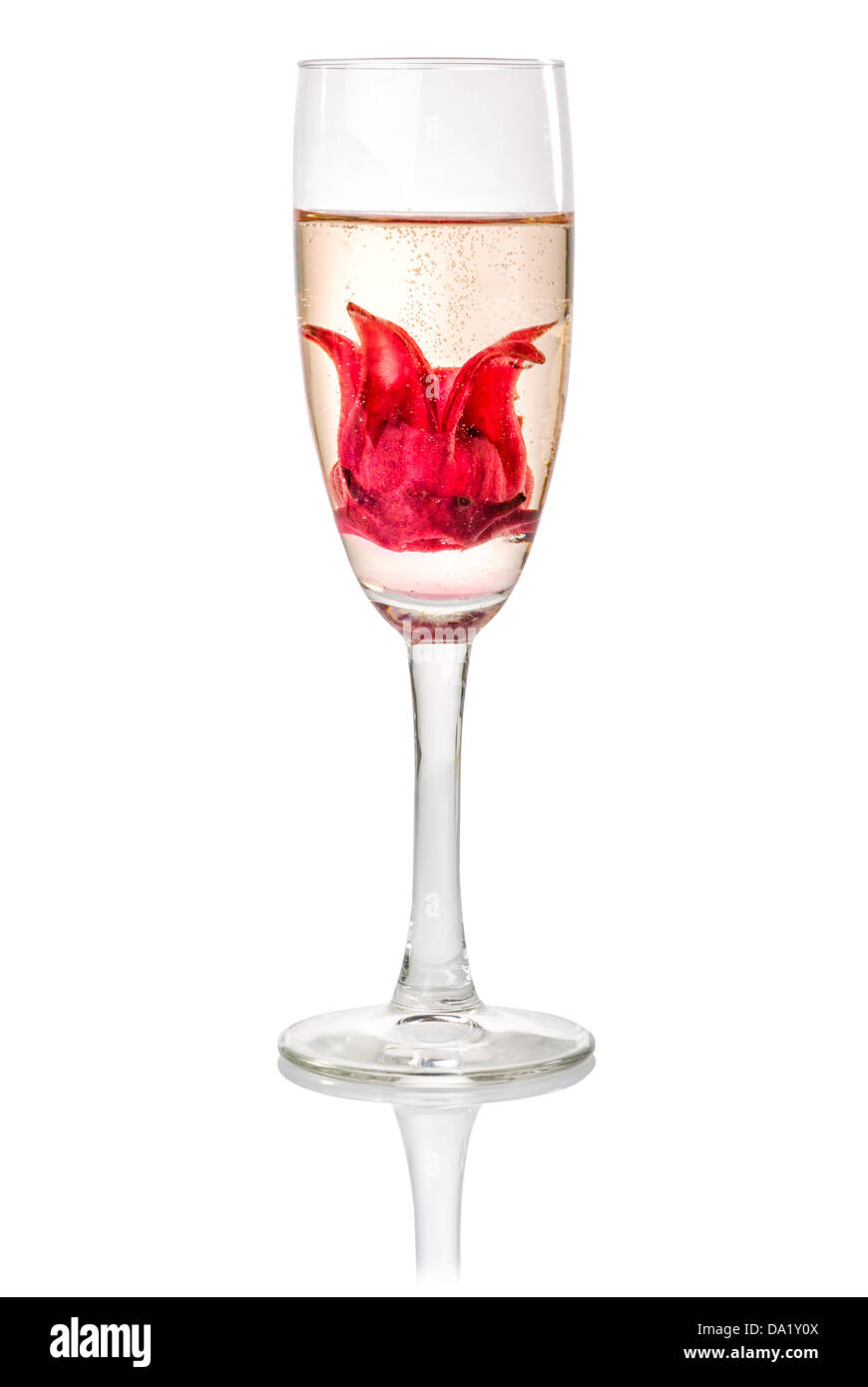 Champagne Cocktail With Hibiscus Flower Stock Photo 57820810 Alamy
