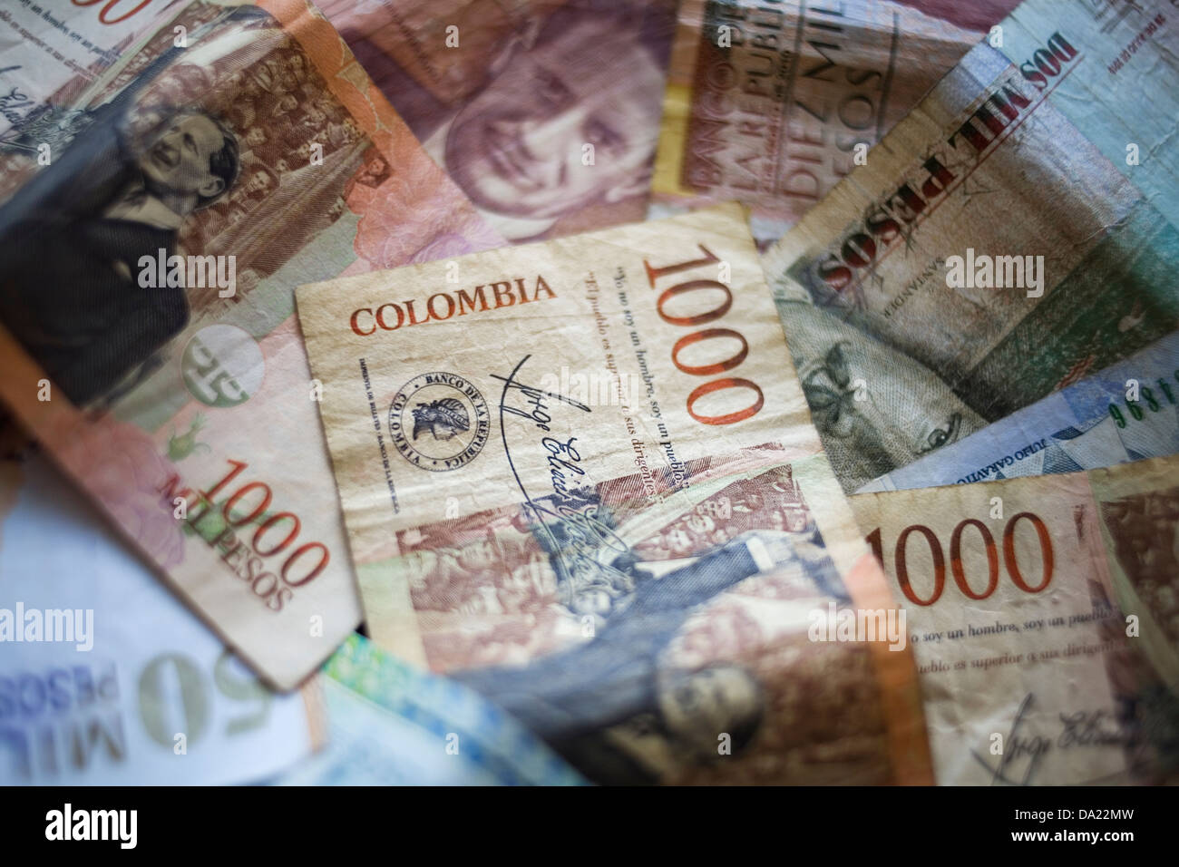 Colombian banknotes. - Stock Image