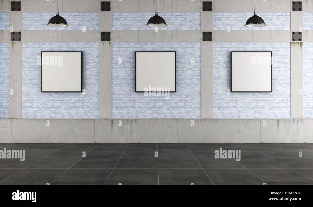 Modern Art Gallery In A Loft With Concrete Pillar And Brick Wall