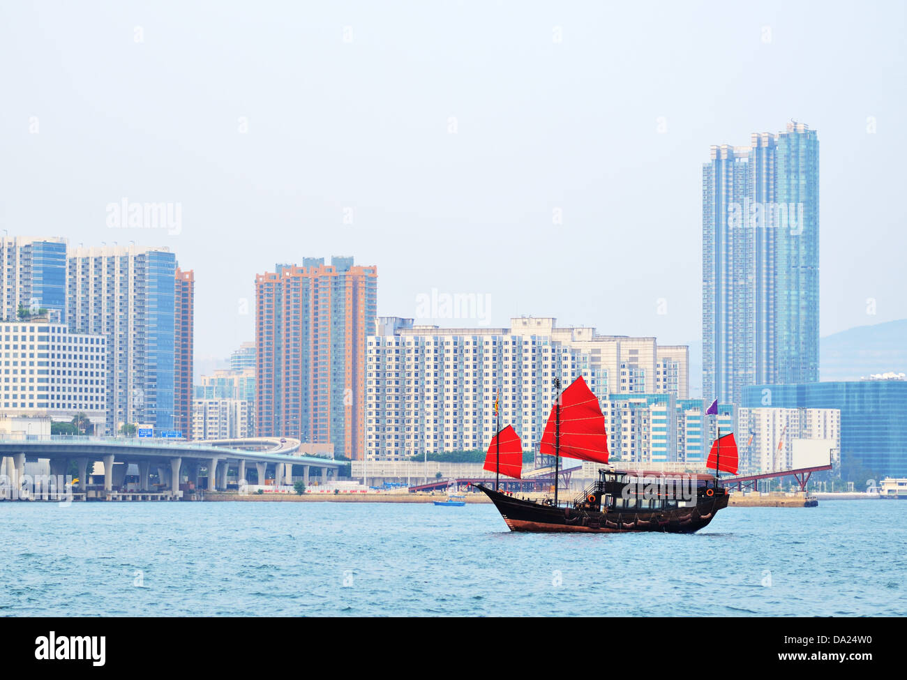 Chinese junk shp in Victoria Harbor, Hong Kong, China. Stock Photo