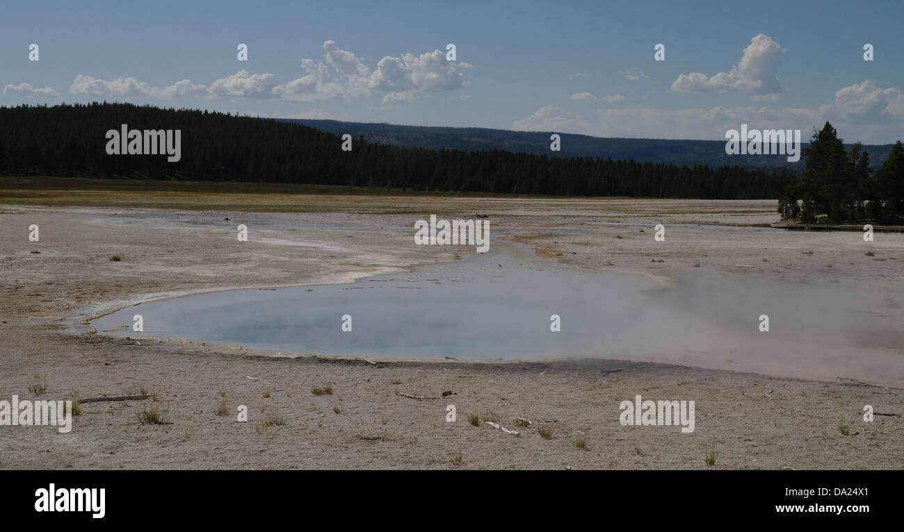 Blue sky blue steaming waters Celestine Pool, towards Fountain Flats, Fountain Group, Lower Geyser Basin, Yellowstone, - Stock Image