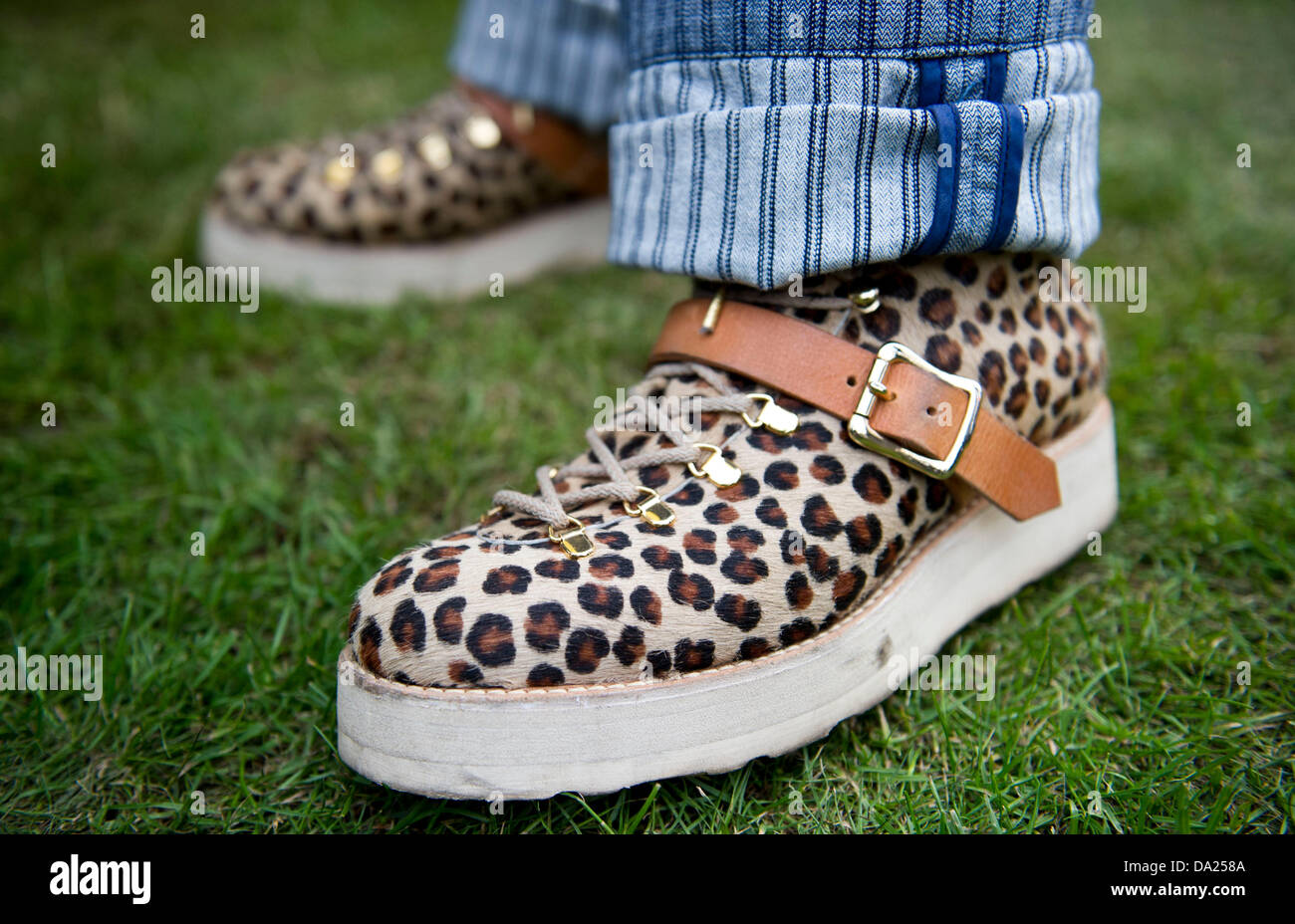 Berlin, Germany. 01st July, 2013. A guy wear shoes with leopard pattern during the party for the opening of the - Stock Image