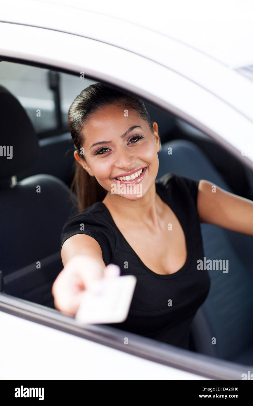 happy business woman handing her driving license Stock Photo