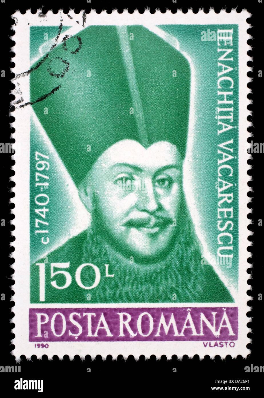 ROMANIA - CIRCA 1990: A stamp printed in Romania, shows portrait of Ienachita Vacarescu, 1740 - 1797 (poet) - Stock Image