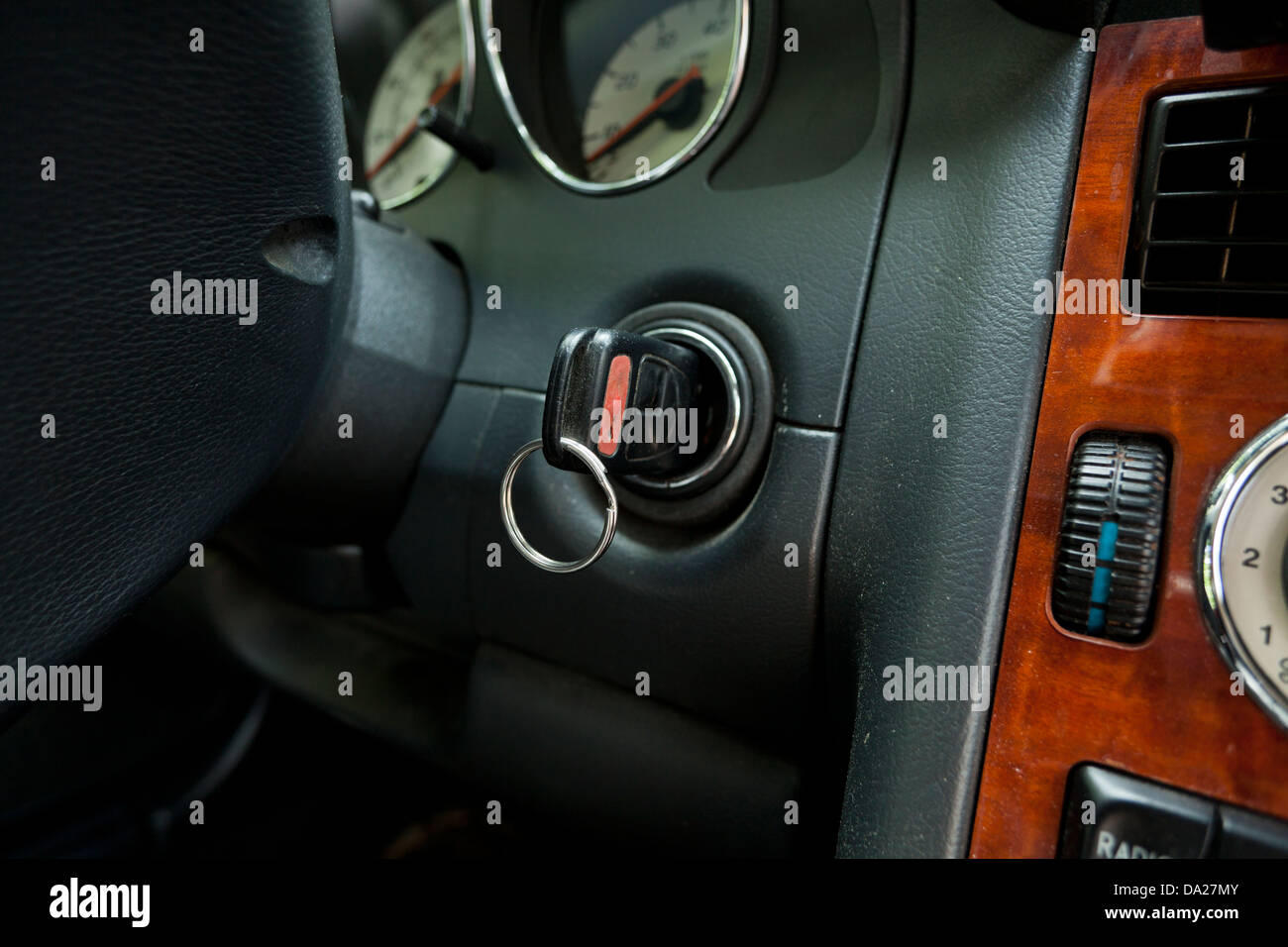 Car key in ignition - Stock Image