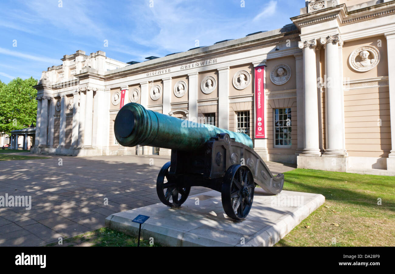 Cannon Outside the Discover Greenwich Museum London UK - Stock Image